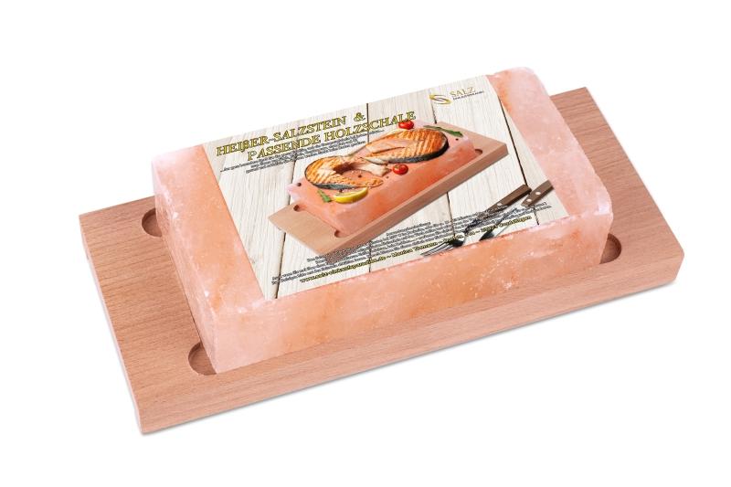 1x Heißer Himalaya* Salzstein mit passender Holzschale 20 x 10 x  2,5 cm